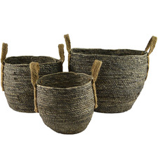 3 Piece Grey Round Maize Basket Set