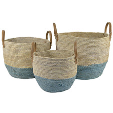 3 Piece Blue Dipped Maize Basket Set