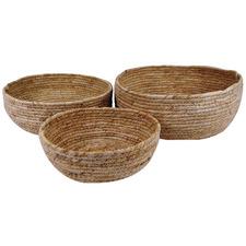 3 Piece Natural Maize Round Basket Set