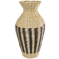 45cm Natural & Black Seagrass Urn