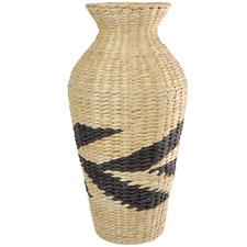 56cm Natural & Black Seagrass Urn