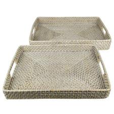 2 Piece White Bay Rectangular Rattan Tray Set