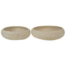 2 Piece White Bay Rattan Decorative Bowl Set
