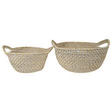2 Piece White Bay Rattan Basket Set