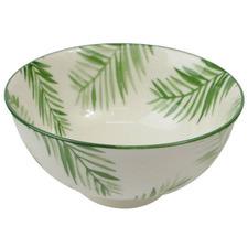Green & White Tropical Ceramic Noodle Bowls (Set of 6)