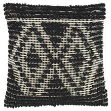 Black 2 Diamond Knot Square Cotton Cushion