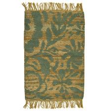 Green Moss Flat-Woven Cotton Rug
