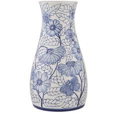 32cm White & Blue Mabon Ceramic Vases (Set of 2)