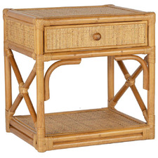 Honey Hampton 1 Drawer Rattan Bedside Table