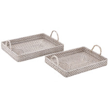 2 Piece South Hampton Rattan Tray Set