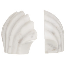 White Shelli Marble Bookends (Set of 2)