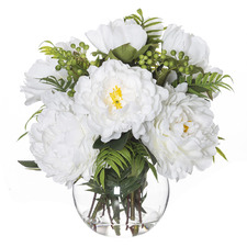 38cm Faux Heirloom Peony Mix Plant with Vase