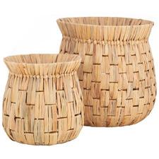 2 Piece Natural Loreto Water Hyacinth Basket Set