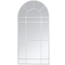 White Clementine Arched Metal Mirror