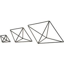 3 Piece Hexahedron Steel Ornament Set