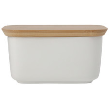 White Basics Butter Dish with Bamboo Lid