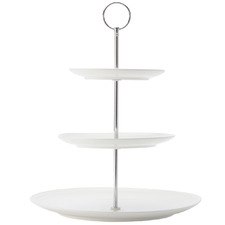 White Basics Diamonds 3 Tier Porcelain Cake Stand