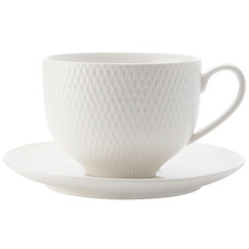 White Basics Diamonds 220ml Teacups & Saucers (Set of 4)