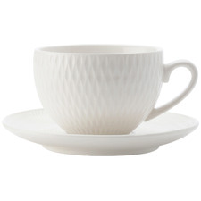 White Basics Diamonds 90ml Espresso Cups & Saucers (Set of 4)