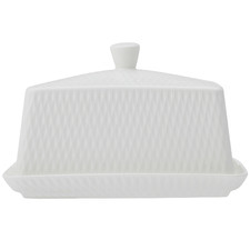 White Basics Diamonds Porcelain Butter Dish