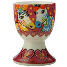 Zig Zag Zebras Love Hearts Porcelain Egg Cups (Set of 6)
