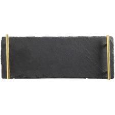 Long Mezze Slate Serving Platter with Gold Handles