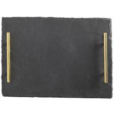 Mezze Slate Serving Platter with Gold Handles
