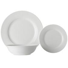 12 Piece White Basics European Rim Porcelain Dinner Set