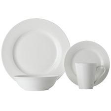 16 Piece White Basics Cosmopolitan Rim Porcelain Dinner Set