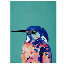 Azure Kingfisher by Pete Cromer Cotton Teatowel