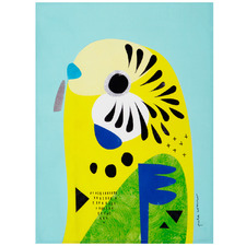 Budgerigar by Pete Cromer Cotton Teatowel