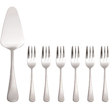 7 Piece Cosmopolitan Stainless Steel Cake Server & Fork Set