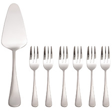 7 Piece Madison Stainless Steel Cake Server & Fork Set