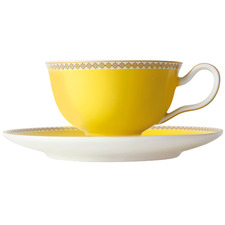 Yellow Teas & C's Contessa Classic 200ml Footed Cup & Saucer Set