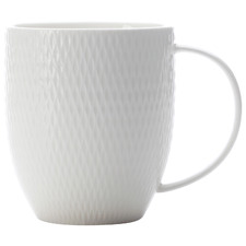 White Basics Diamonds 370ml Porcelain Coupe Mugs (Set of 4)