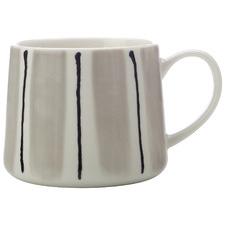 Grey Fine Line 330ml Porcelain Mugs (Set of 6)