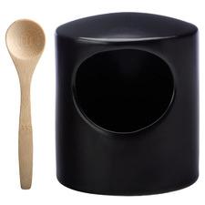2 Piece Black Epicurious Salt Pig with Spoon Set
