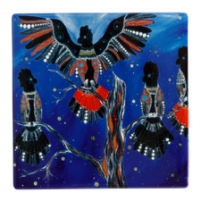 Black Cockatoos Melanie Hava Jugaig-Bana-Wabu Ceramic Coasters (Set of 6)