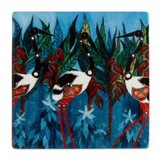 Blue Jabirus Melanie Hava Jugaig-Bana-Wabu Ceramic Coasters (Set of 6)