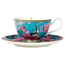 2 Piece Aqua Teas & C's Silk Road Footed Cup & Saucer Set