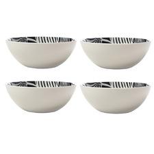 Grey & White Panama 16cm Porcelain Bowls (Set of 4)