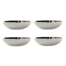 Grey & White Panama 20cm Porcelain Coupe Bowls (Set of 4)