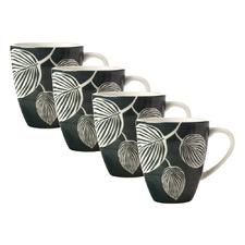Grey & White Panama 350ml Porcelain Coupe Mugs (Set of 4)