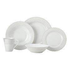 20 Piece Maxwell & Williams White & Grey Jewel Rim Dinner Set