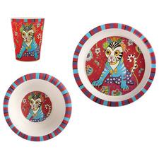3 Piece Tiggy & Tiny Donna Sharam Rainbow Jungle Children's Dinner Set