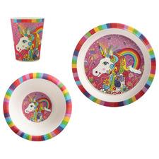 3 Piece Rainbow Unicorn Donna Sharam Rainbow Jungle Children's Dinner Set