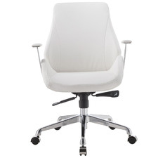 White Rosela Faux Leather Adjustable Office Chair