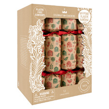12 Piece Red & Green Skandi Christmas Cracker Set