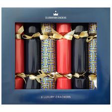 6 Piece Red & Navy Gatsby Christmas Cracker Set