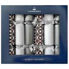 6 Piece Silver Ornate Christmas Cracker Set
